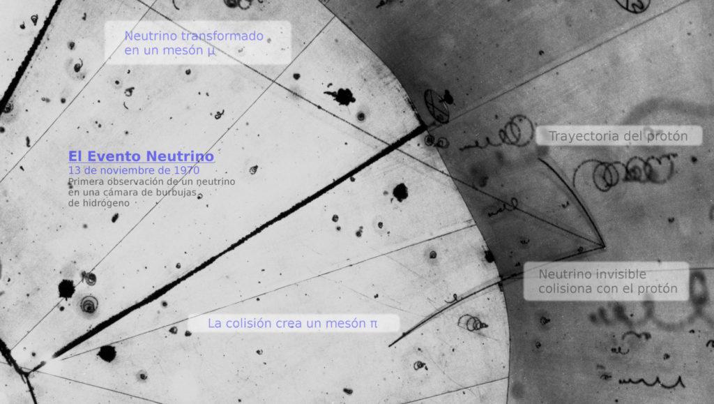 Fotografía en la cámara de burbujas de la primera detección de un neutrino en 1973.