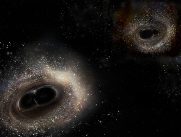 Comparativa de las colisiones de agujeros negros detectadas por LIGO - Imagen LIGO:A Simonnet